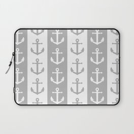Nautical Sailor Stripes with Anchor Pattern Gray 241 Laptop Sleeve
