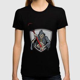 Grim Reaper Lacrosse Player Crosse Stick Retro T-shirt