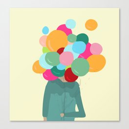 Balloons in front of my face, can't see Canvas Print