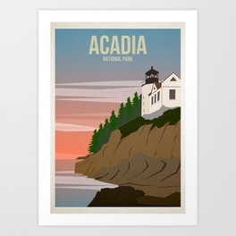 Acadia National Park Travel Poster Art Print