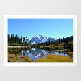 Mount Shuksan reflected on Picture Lake Art Print
