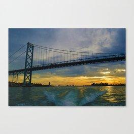The Ambassador Bridge connects Detroit USA, & Windsor CA Canvas Print