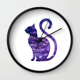 Purple Glitter Halloween Kitty Cat Wall Clock