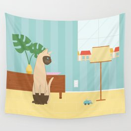 Siamese Cat And Mouse Wall Tapestry