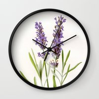 lavender Wall Clocks featuring Lavender by 83 Oranges™