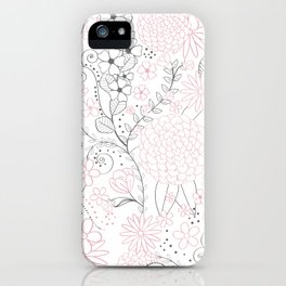 Classy doodles hand drawn floral artwork iPhone Case