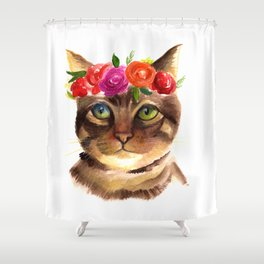 FLORAL KITTEN Shower Curtain