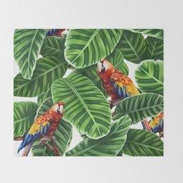 tropical leaves macaw pattern Throw Blanket