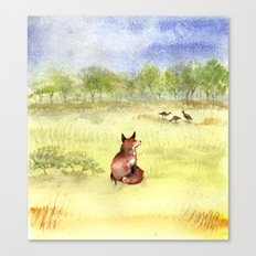 Red Fox Watching Wild Turkeys - Watercolor Canvas Print