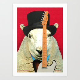 Rock 'n' Roll Sheep with Telecaster Art Print