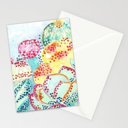 SOUTHWEST CACTUS ART prickly pear desert landscape pointillism watercolors acrylics stickykitties Stationery Cards