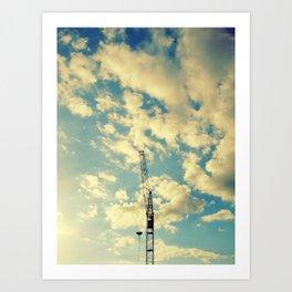 Building Crain In Clouds Art Print