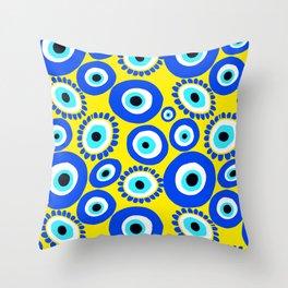 Mediterranean Eye Pattern Yellow and Blue Throw Pillow