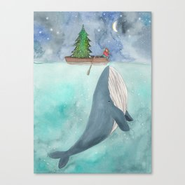 When a whale likes Christmas Canvas Print