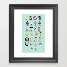 Animated characters abc Framed Art Print