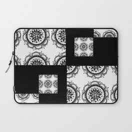 Black and White Rounded Mandala Patch Textile Laptop Sleeve