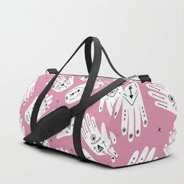 Indian summer bohemian hamsa hand of fatima pattern pink Duffle Bag