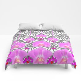 CERISE PINK ORCHID FLOWERS GREY DECO PATTERN ABSTRACT ART Comforters