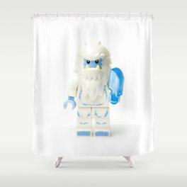 White Yeti Minifig eating an icecream Shower Curtain