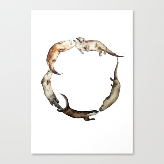British Otter Wreath Canvas Print