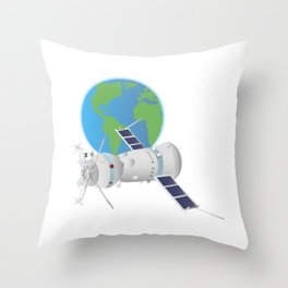 Soyuz Spacecraft in Space Throw Pillow