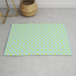 Yellow abstract vector shapes over turquoise seamless pattern Rug