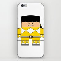 power rangers iPhone & iPod Skins featuring Mighty Morphin Power Rangers - The Original Yellow Ranger Unmasked (Trini) by Choo Koon Designs