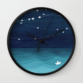 Garlands of stars, watercolor teal ocean Wall Clock