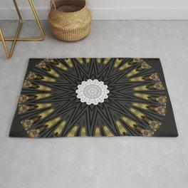 Dark Black Gold & White Marble Mandala Rug