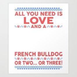 French Bulldog Ugly Christmas Sweater Art Print
