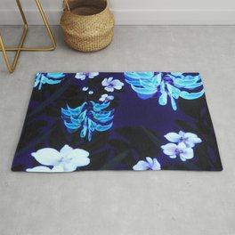Blue Jungle Floral with Orchids and Jade Vine Rug