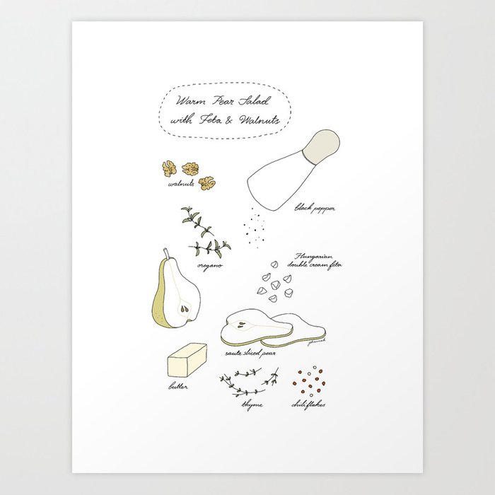 Pear Salad (Illustrated Recipe) Art Print