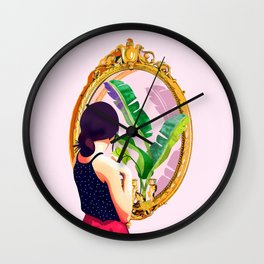 Soul Mirror, Instrospection Mindful Mood Illustration, Tropical Banana Leaves Woman Portrait Gold Wall Clock