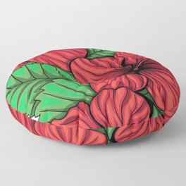 Bouquet of hibiscus flower and tropical leaves Floor Pillow