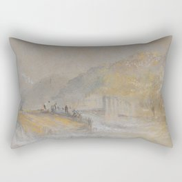 "J.M.W. Turner ""Foul by God - River Landscape with Anglers Fishing From a Weir"" Rectangular Pillow"