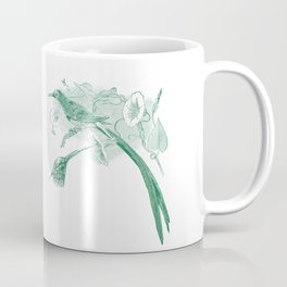 Vintage Green and White Drawing of African Sunbirds Coffee Mug