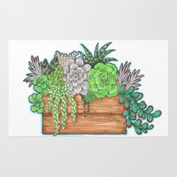 succulents Area & Throw Rugs featuring Succulents by Little Lost Garden