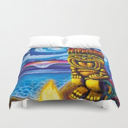 Tiki Moon Duvet Cover