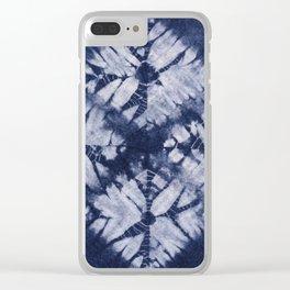 Denim Tie Dye Clear iPhone Case
