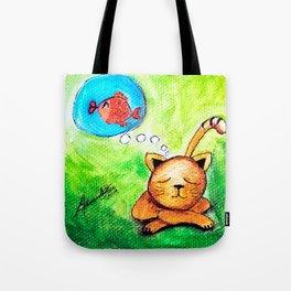 Yellow Cat dreaming  Tote Bag