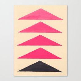 Colorful Pink Geometric Triangle Pattern With Black Accent Canvas Print