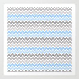 Grey Gray Blue Ombre Chevron Art Print