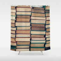 bookworm Shower Curtains featuring Bookworm by Laura Ruth