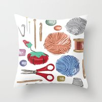 sewing Throw Pillows featuring Sewing by Jennifer Epstein