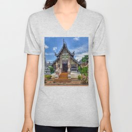Chiang Mai Thailand Buddhist Temple Unisex V-Neck