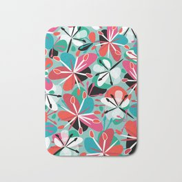 Contemporary composition of colorful abstract flowers on a light green background, cheerful and colo Bath Mat