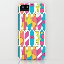 Mini Rainbow Colored Waikiki Surfboards iPhone Case