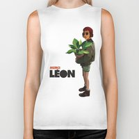 leon Biker Tanks featuring Mathilda, Leon the Professional by Ananas Art Shop