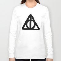 deathly hallows Long Sleeve T-shirts featuring Deathly Hallows on Parchment by Hannah Ison