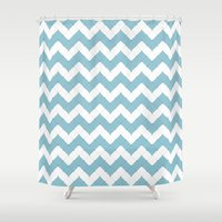 8bit Shower Curtains featuring 8Bit Blue Wave by Paul Trott
